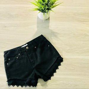 Free People Black Denim Lace Shorts